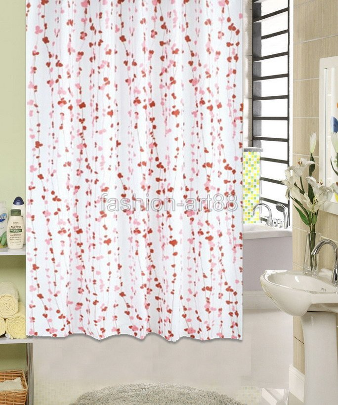 Cherry blossom flower picture design bathroom fabric shower curtain