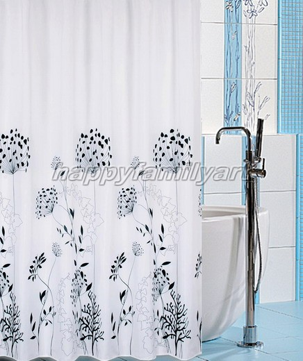 Black And White Flower Floral Pattern Bathroom Fabric Shower Curtain Ys026 A Ebay