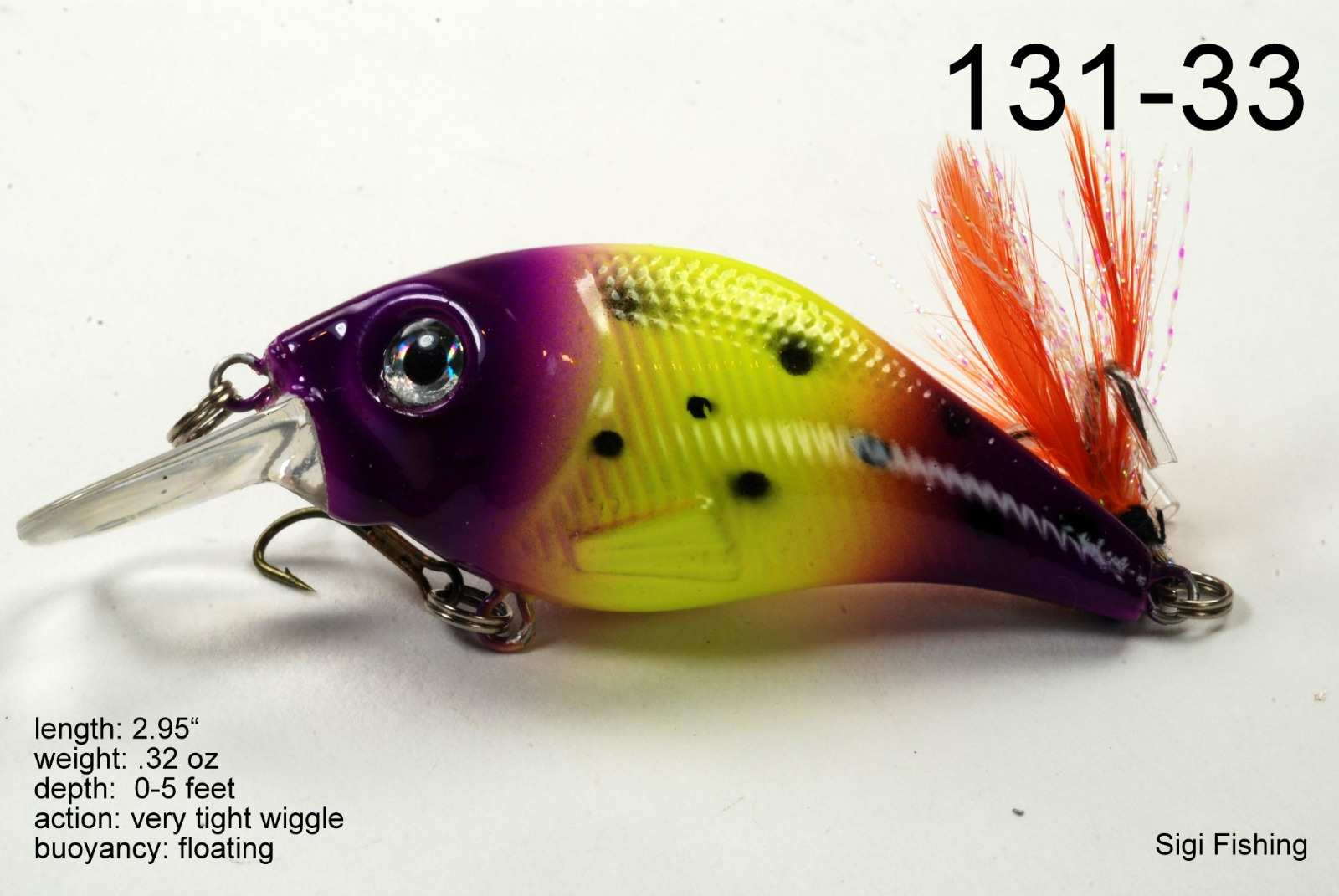 Sigi glittertail 3 diving bass trout fishing lure in viking for Fishing lure selector