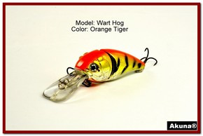 "Akuna Wart Hog 3.4"" Diving Jointed Fishing Lure in color ""Orange Tiger"" [BP 107-78]"
