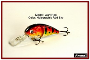 "Akuna Wart Hog 3.4"" Diving Jointed Fishing Lure in color ""Red Sky"" [BP 107-81]"