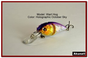 "Akuna Wart Hog 3.4"" Diving Jointed Fishing Lure in color ""October Sky"" [BP 107-82]"