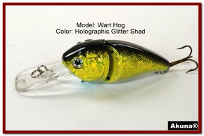 "Akuna Wart Hog 3.4"" Diving Jointed Fishing Lure in color ""Glitter Shad"" [BP 107-85]"