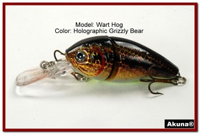 "Akuna Wart Hog 3.4"" Diving Jointed Fishing Lure in color ""Grizzly Bear"" [BP 107-88]"