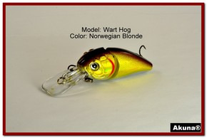 "Akuna Wart Hog 3.4"" Diving Jointed Fishing Lure in color ""Norwegian Blonde"" [BP 107-92]"