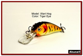 "Akuna Wart Hog 3.4"" Diving Jointed Fishing Lure in color ""Tiger Eye"" [BP 107-94]"