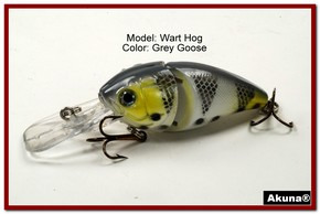 "Akuna Wart Hog 3.4"" Diving Jointed Fishing Lure in color ""Grey Goose"" [BP 107-96]"