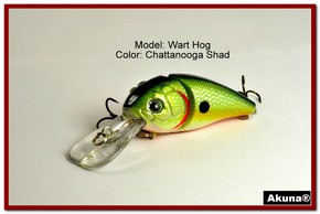 "Akuna Wart Hog 3.4"" Diving Jointed Fishing Lure in color ""Chattanooga Shad"" [BP 107-99]"