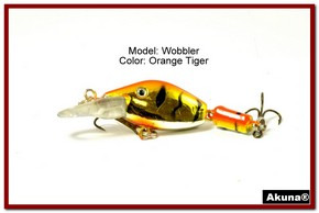 "Akuna Wobbler 2.6"" Sinking Jointed Fishing Lure in color ""Orange Tiger""[BP 110-78]"