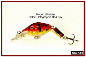 "Akuna Wobbler 2.6"" Sinking Jointed Fishing Lure in color ""Red Sky""[BP 110-81]"