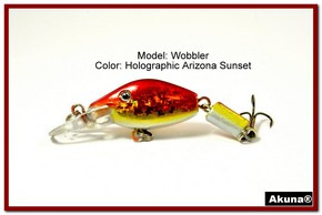 "Akuna Wobbler 2.6"" Sinking Jointed Fishing Lure in color ""Blaze""[BP 110-84]"