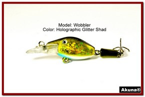 "Akuna Wobbler 2.6"" Sinking Jointed Fishing Lure in color ""Glitter Shad""[BP 110-85]"