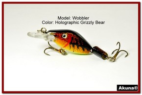 "Akuna Wobbler 2.6"" Sinking Jointed Fishing Lure in color ""Grizzly Bear""[BP 110-88]"
