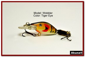 "Akuna Wobbler 2.6"" Sinking Jointed Fishing Lure in color ""Tiger Eye""[BP 110-94]"