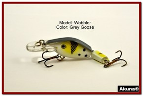 "Akuna Wobbler 2.6"" Sinking Jointed Fishing Lure in color ""Grey Goose""[BP 110-96]"