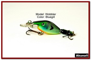 "Akuna Wobbler 2.6"" Sinking Jointed Fishing Lure in color ""Bluegill""[BP 110-97]"