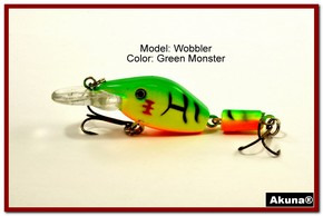 "Akuna Wobbler 2.6"" Sinking Jointed Fishing Lure in color ""Green Monster""[BP 110-98]"