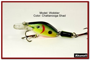 "Akuna Wobbler 2.6"" Sinking Jointed Fishing Lure in color ""Chattanooga Shad""[BP 110-99]"