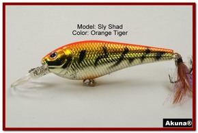 "Akuna Sly Shad 3.5"" Crankbait Fishing Lure in color ""Orange Tiger""[BP 118-78]"