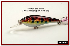 "Akuna Sly Shad 3.5"" Crankbait Fishing Lure in color ""Red Sky""[BP 118-81]"