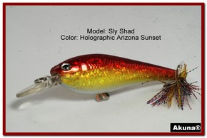 "Akuna Sly Shad 3.5"" Crankbait Fishing Lure in color ""Blaze""[BP 118-84]"