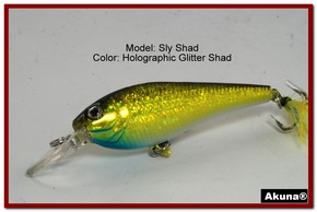 "Akuna Sly Shad 3.5"" Crankbait Fishing Lure in color ""Glitter Shad""[BP 118-85]"