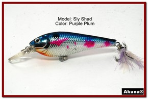 "Akuna Sly Shad 3.5"" Crankbait Fishing Lure in color ""Purple Plum""[BP 118-89]"