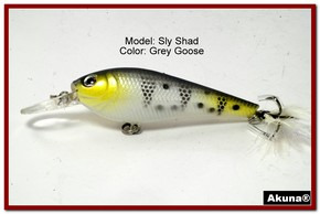 "Akuna Sly Shad 3.5"" Crankbait Fishing Lure in color ""Grey Goose""[BP 118-96]"