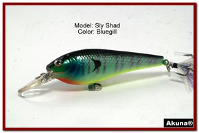 "Akuna Sly Shad 3.5"" Crankbait Fishing Lure in color ""Bluegill""[BP 118-97]"