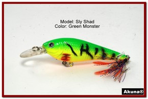 "Akuna Sly Shad 3.5"" Crankbait Fishing Lure in color ""Green Monster""[BP 118-98]"