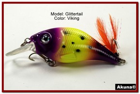 Akuna Glittertail 3 inches Crankbait Fishing Lure in Viking [BP 131-33]