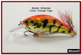 Akuna Glittertail 3 inches Crankbait Fishing Lure in Orange Tiger [BP 131-78]