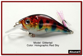 Akuna Glittertail 3 inches Crankbait Fishing Lure in Red Sky [BP 131-81]