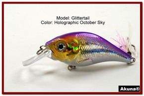 Akuna Glittertail 3 inches Crankbait Fishing Lure in October Sky [BP 131-82]