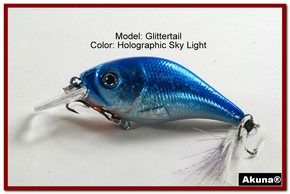 Akuna Glittertail 3 inches Crankbait Fishing Lure in Sky Light [BP 131-83]