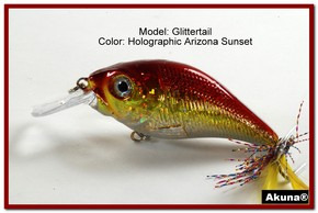 Akuna Glittertail 3 inches Crankbait Fishing Lure in AZ Sunset [BP 131-84]