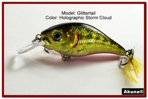 Akuna Glittertail 3 inches Crankbait Fishing Lure in Storm Cloud [BP 131-86]