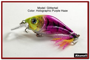 Akuna Glittertail 3 inches Crankbait Fishing Lure in Purple Haze [BP 131-87]
