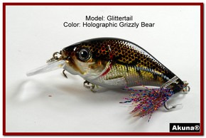 Akuna Glittertail 3 inches Crankbait Fishing Lure in Grizzly Bear [BP 131-88]