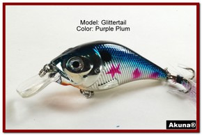Akuna Glittertail 3 inches Crankbait Fishing Lure in Purple Plum [BP 131-89]
