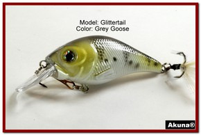 Akuna Glittertail 3 inches Crankbait Fishing Lure in Grey Goose [BP 131-96]