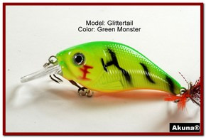 Akuna Glittertail 3 inches Crankbait Fishing Lure in Green Monster [BP 131-98]