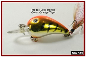 "Akuna Little Rattller 2.3"" Crankbait Fishing Lure in Orange Tiger [BP 132-78]"