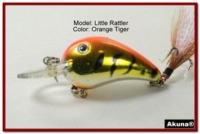 "Akuna Little Rattller 2.3"" Crankbait Fishing Lure in Orange Tiger [BP 132-78]"