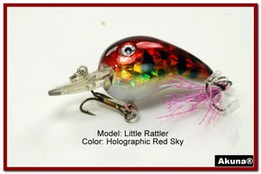 "Akuna Little Rattller 2.3"" Crankbait Fishing Lure in Red Sky [BP 132-81]"