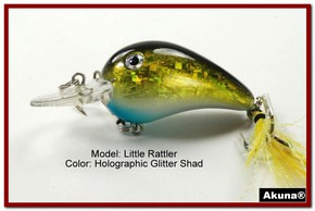 "Akuna Little Rattller 2.3"" Crankbait Fishing Lure in Glitter Shad [BP 132-85]"