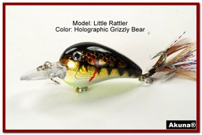 "Akuna Little Rattller 2.3"" Crankbait Fishing Lure in Grizzly Bear [BP 132-88]"