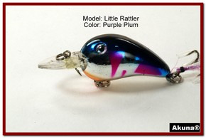 "Akuna Little Rattller 2.3"" Crankbait Fishing Lure in Purple Plum [BP 132-89]"