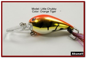 "Akuna Little Chubby 3"" Crankbait Fishing Lure in Orange Tiger [BP 133-78]"