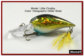 "Akuna Little Chubby 3"" Crankbait Fishing Lure in Glitter Shad [BP 133-85]"